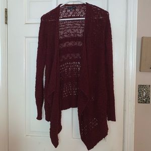 Maroon Burgundy Red Sweater Cardigan AE